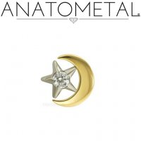 "Anatometal 18kt Gold Moon with 3/16"" Gem Star Threaded End 18g 16g 14g 12g"