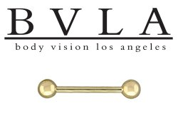 "BVLA 14kt Gold 5/32"" Ball Ends Barbell 12 Gauge 12g Body Vision Los Angeles"