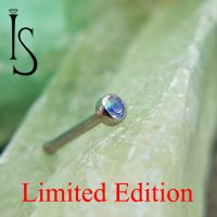 "Industrial Strength Titanum Nose Bone 2mm Bezel-set Faceted Water Opal 5/16"" 18 Gauge 18g Limited Edition"