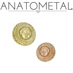 Anatometal 18Kt Gold Hera with Hammered Center Threaded End 4mm 5mm 6mm 18g 16g 14g 12g