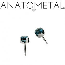 Anatometal Titanium 2mm Prong-set Faceted Gem Earrings (Pair)