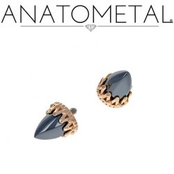 Anatometal 18kt Gold King Threaded End Bullet-cut Gem 18g 16g 14g 12g