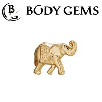 Body Gems 14kt Gold Elephant Threaded End Dermal Top 18 Gauge 16 Gauge 14 Gauge 12 Gauge 18g 16g 14g 12g