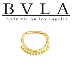 "BVLA 14kt Gold ""Latchmi"" Septum Clicker Hinged Ring 14 Gauge 14g Body Vision Los Angeles"