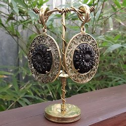 2 Gauge (6.5mm) Brass Ear Weight Hangers with Carved Black Horn Carnation Medallion (one pair)
