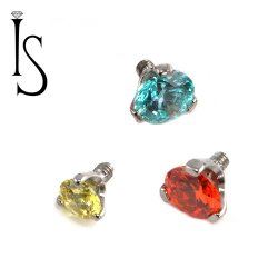 IS Titanium 3 Prong-set Faceted Gem 3mm 4mm Gem End 12g 14g 16g 18g