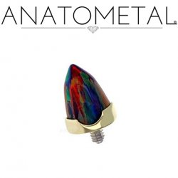 Anatometal 18Kt Gold Threaded Prong-set Bullet-cut Gem End 18g 16g 14g 12g