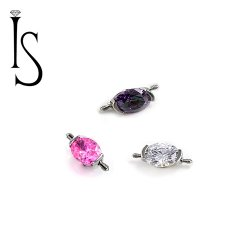 Industrial Strength Titanium Ear Project 2 Prong Oval 8x6mm Faceted Gem Orbits 18g 16g 18 16 gauge