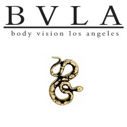"BVLA 14Kt Gold ""Coilde Snake"" Threadless End 18g 16g 14g Body Vision Los Angeles ""Press-fit"""