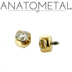 Anatometal 18kt Gold Threaded 3mm Prong-set Faceted Gem End 18g 16g 14g 12g