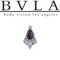 "BVLA 14kt Gold ""Sarai"" Pear with Two Tri Bead Clusters Threaded Gem End 18g 16g 14g 12g Body Vision Los Angeles"