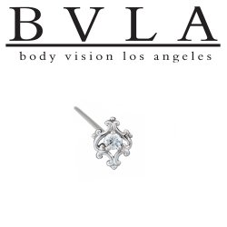 BVLA 14kt Yellow White Rose Gold Mini Paloma Swirl 2mm Gem Nostril Screw Nose Bone Nail Ring Stud 20g 18g 16g