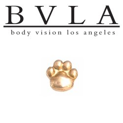 "BVLA 14kt Gold ""Puffy Dog Paw"" Threadless End 18g 16g 14g ""Press-fit"""