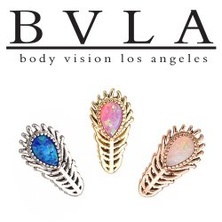 "BVLA 14kt Gold ""Peacock Feather"" Threadless End 18g 16g 14g ""Press-fit"""