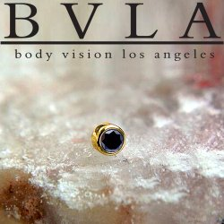 "BVLA 14kt Gold Bezel-set Genuine Black Diamond 2mm 2.5mm 3mm Threadless End 18g 16g 14g ""Press-fit"""