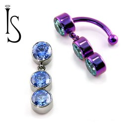 IS Titanium Fixed Top Bezel-set Faceted Gem Curved Barbell w/ (2) 6mm Dangles 14 gauge 14g
