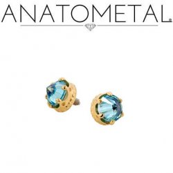 Anatometal 18kt Gold Queen Threaded End Reversed 3mm Gem 18g 16g 14g 12g