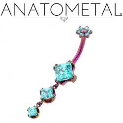 Anatometal Titanium Navel Curve Belly Button Ring Princess-cut Gems w/ 2 Dangles and Gem Flower Top 14 Gauge 12 Gauge 14g 12g