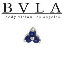 "BVLA 14kt Gold ""Tri Prong Cluster"" 6mm Threaded End Dermal Top 18g 16g 14g 12g Body Vision Los Angeles"