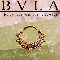 "BVLA 14kt Gold ""Afghan"" Septum Clicker Nose Ring 14 Gauge 14g Body Vision Los Angeles"