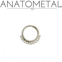 Anatometal Vaughn Surgical Steel Seam Ring With Silver Bead Overlay 18 Gauge 18g