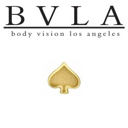 "BVLA 14kt Gold ""Spade"" Card Suit Threaded End Dermal Top 18g 16g 14g 12g Body Vision Los Angeles"