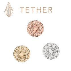 "Tether 14Kt Gold Round Star Threadless End 18 Gauge 18g ""Press-fit"""