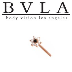 BVLA 14kt Yellow White Rose Gold Flower #2 Pearl & CZ Nostril Screw Nose Bone Ring Stud Nail 20g 18g 16g Body Vision Los Angeles