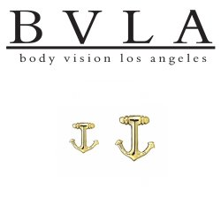 "BVLA 14Kt Gold ""Anchor"" Threadless End 18g 16g 14g Body Vision Los Angeles ""Press-fit"""