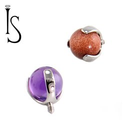 IS Titanium 3 Prong Stone Ball 6mm Gem End 12g 14g 16g 18g