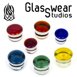 "Glasswear Pyrex Glass Single Flare Color Front Plugs 12g - 1 1/2"" (Pair)"