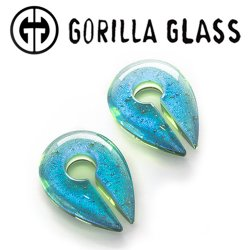 "Gorilla Glass Deluxe Dichroic Keyholes 0.4oz Ear Weights 9/16"" And Up (Pair)"