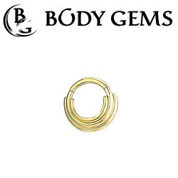 "Body Gems 14kt Gold ""Three Ring Circus"" Clicker Septum Daith Ring 14 Gauge 14g"