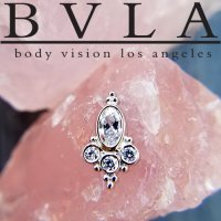 "BVLA 14kt Gold Oval ""Sarai"" Threaded Gem End Dermal Top 18g 16g 14g 12g Body Vision Los Angeles"