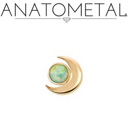 Anatometal 18Kt Gold Threaded Crescent Moon End 3mm Gem 18g 16g 14g 12g