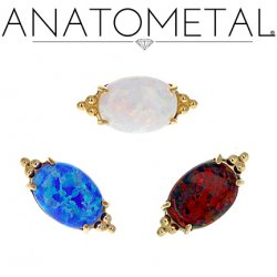 Anatometal 18kt Gold FaraTa! Oval Threaded End 18g 16g 14g 12g