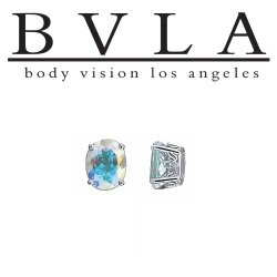 BVLA Oval Gem 14kt Gold Scroll Prong Threaded End Dermal Top 18g 16g 14g 12g Body Vision Los Angeles