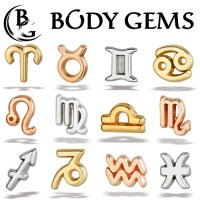 Body Gems 14kt Gold Zodiac Sign Threaded End Dermal Top 18 Gauge 16 Gauge 14 Gauge 12 Gauge 18g 16g 14g 12g