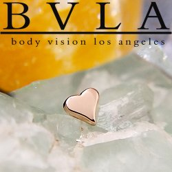 "BVLA 14kt Gold Flat ""Heart"" Threaded End Dermal Top 18g 16g 14g 12g Body Vision Los Angeles"