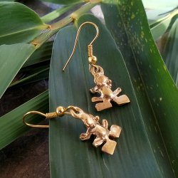 Pre-Columbian Design Bronze Frogs Earrings #5 (Pair)