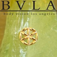 "BVLA 14Kt Gold ""Flower of Life"" Threaded End Dermal Top 18g 16g 14g 12g Body Vision Los Angeles"