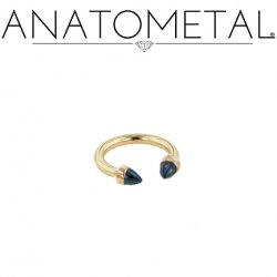 Anatometal 18kt Gold Circular Barbell with 18kt Gold 3mm or 4mm Bullet Cone Ends 16g