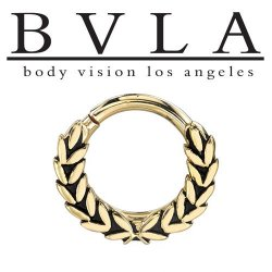 "BVLA 14kt ""Mini Olympus"" Gold Septum Clicker Ring 12 gauge 12g Body Vision Los Angeles"