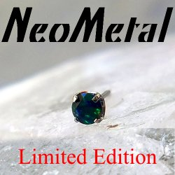 "18 Gauge 18g NeoMetal Limited Ed. Threadless Titanium Prong-set Faceted Black Opal Gem End 2.0mm ""Press-fit"""