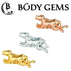 "Body Gems 14kt Gold ""Cow Jumps"" Threaded End Dermal Top 18 Gauge 16 Gauge 14 Gauge 12 Gauge 18g 16g 14g 12g"