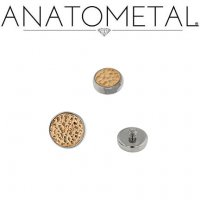 Anatometal Titanium Bezel with Hammered Bronze Insert Threaded End Dermal Top 18 Gauge 16 Gauge 14 Gauge 12 Gauge 18g 16g 14g 12g
