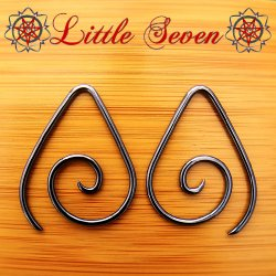 "Little Seven Niobium Small ""Teardrop"" Spirals 12 Gauge 12g (Pair)"