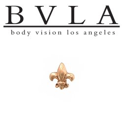 "BVLA 14kt Gold ""Fleur De Lys"" Threadless End 18g 16g 14g ""Press-fit"""