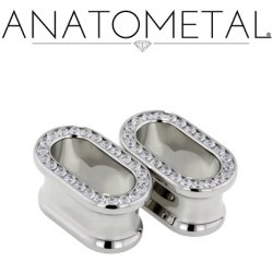 "Anatometal Surgical Stainless Steel Oval Multi Gem Eyelet Tunnel 5/8"" to 2"""