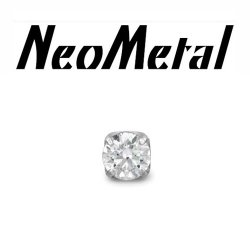 "18 Gauge 18g NeoMetal Threadless Titanium 2.5mm Prong-Set Genuine Diamond End ""Press-fit"""